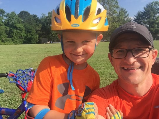 Nick Geidner with his son, Henry, 5. The duo took a selfie while biking in West Hills Park.