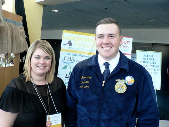 Carrie Jacob, FFA advisor and Connor Esch, president