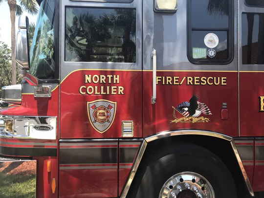 Fire truck for North Collier Fire sits at Station 45, near Veterans Community Park in North Naples, on June 21, 2018.