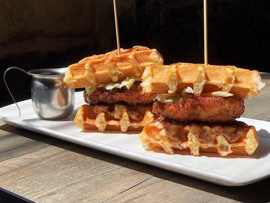 Chicken and waffle sliders at The Cosby in Montclair