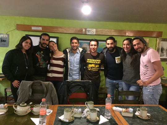 Perez (fourth from right) pictured with friends and