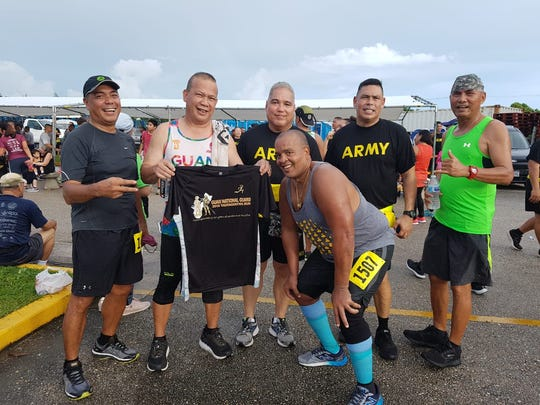 Guam National Guard's Taotaomona 2K/5K Run/Walk and Stroll was held July 7 at the Guam Premier Outlets in Tamuning.  Senior participants from left: Steve Lujan, Ed Guererro, Major General Roderick R. Leon Guererro (Adjutant General of the Guam National Guard), Melchor Hennegan (State Command Sargeant Major of the Guam National Guard), Alejo Sablan and Ricky Barrow.