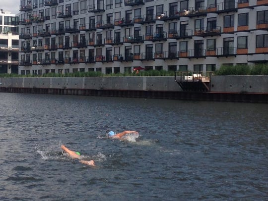 Two swimmers test the route for the upcoming Cream