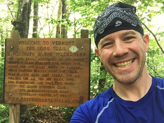 Kenny Hancock at the beginning point of The Long Trail at the border of Massachusetts and Vermont, July 2015.