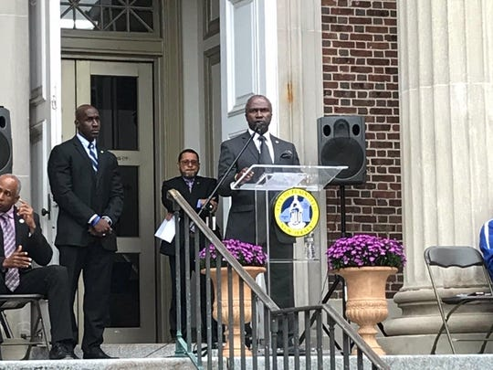 Plainfield Mayor Adrian Mapp at the city's Sept. 11 remembrance ceremony