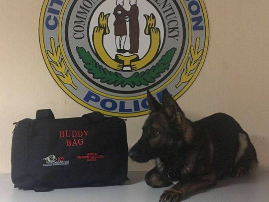 HPD's newest K-9 is Kari. Kari poses with his new medical