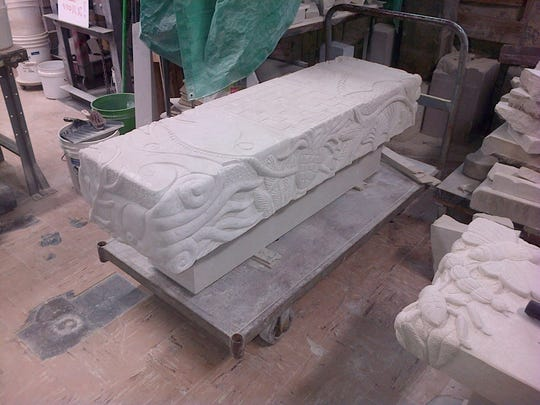 A look at the fossil benches in progress. Look closely for chessboard on the top.