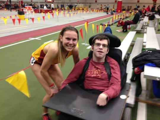 Evelyne Guay, a freshman distance runner from Canada, surprised Andy Ackermann after running her race on a Saturday afternoon during the indoor track season. She showed up next to him, and thanked him for cheering.