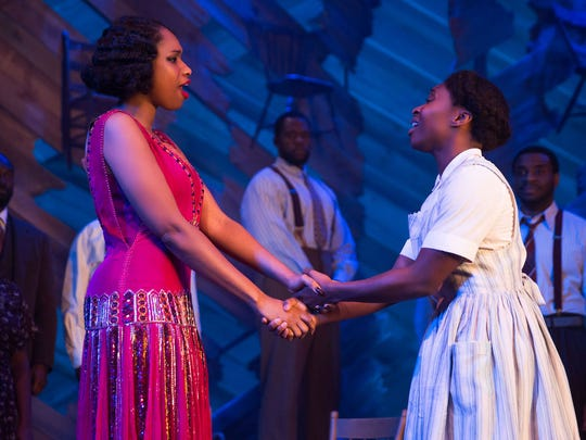 "Jennifer Hudson and Cynthia Erivo perform in Broadway's ""The Color Purple."""
