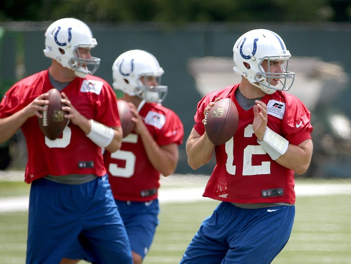 The Indianapolis Colts held their first day of minicamp Tuesday, June 17, 2014, afternoon at the Colts Complex in Indianapolis. Here Andrew Luck drops back on a passing drill. Matt Kryger / The Star