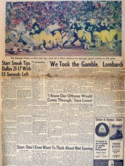 Green Bay Press-Gazette newspaper from the 1967 Ice Bowl at Lambeau Field.