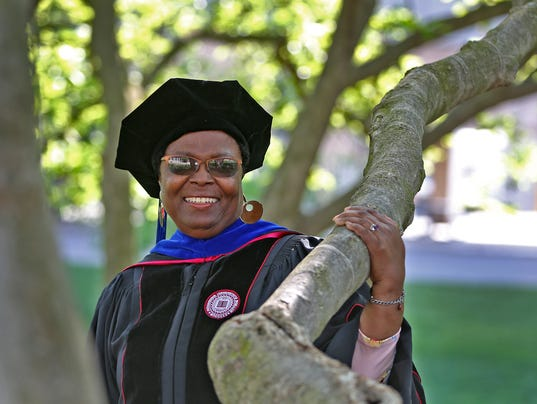 Pinkie Evans, a 70-year-old mother and grandmother graduates from Indiana University Saturday, May 12, 2018, with a PhD in Social Work.