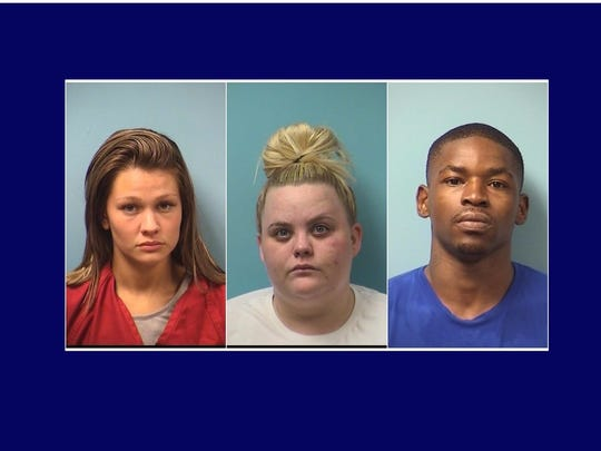 Jaemie Rae Drum, Ashley Ann Pick-Gassama and Alan Danny Woods were arrested last month in connection with a sex-trafficking investigation.