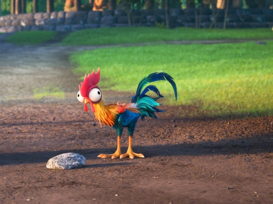 "Hei Hei provides plenty of comedy in 'Moana.' The chicken, voiced by Alan Tudyk, makes crazy ""buck-buckaw"" sounds and keeps trying to eat a rock."