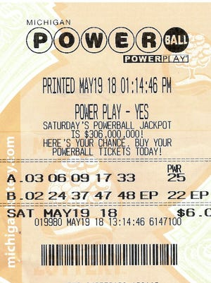 Ernest Spagnuolo's winning Powerball ticket