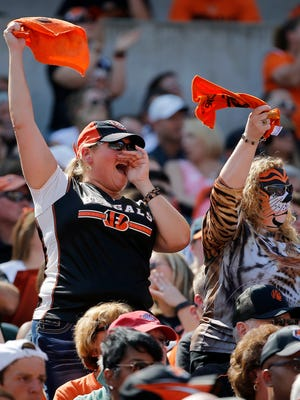Bengals fans cheer as the Bengals face the Broncos at Paul Brown Stadium Sunday, September 25, 2016.