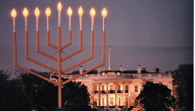 The National Menorah, which is lighted on The Ellipse near the White House in Washington, D.C., ever year in honor of Hanukkah.