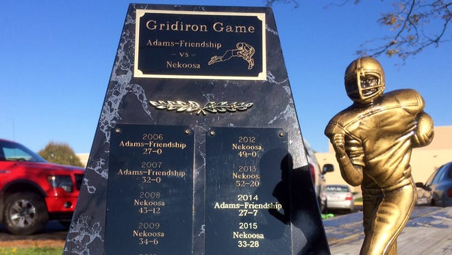 The Gridiron Trophy is the spoils for the victor of the annual Nekoosa-Adams-Friendship football game.