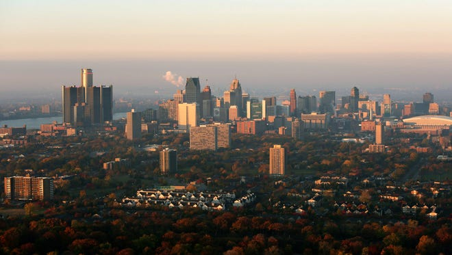 Aerial view of the skyline of downtown Detroit.