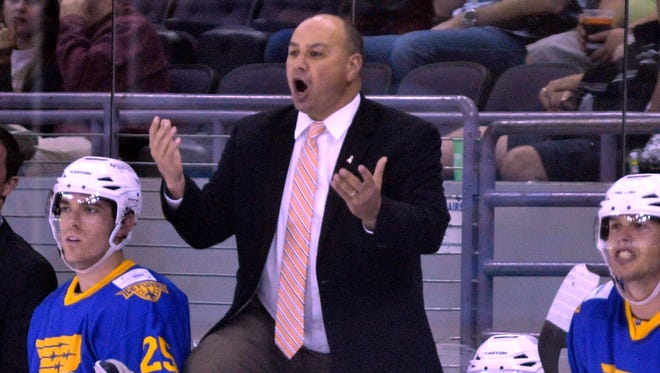 Ice Flyers coach Rod Aldoff, shown in game last season, watched his team win three road games, then lose a pair by a goal this weekend since returning as coach.