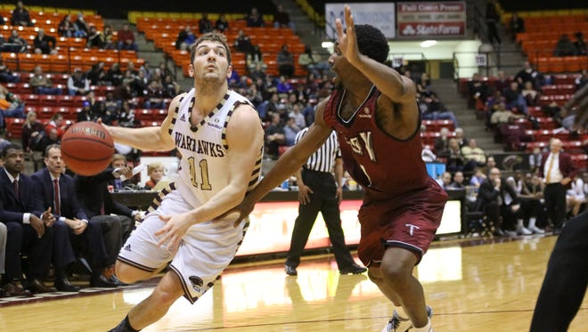 ULM's Nick Coppola (11) was one of three Warhawks to finish in double digits scoring. Coppola also turned in 10 assists.