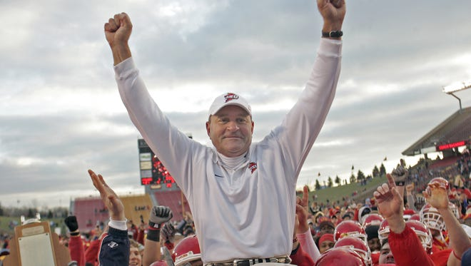 Iowa State head football coach Dan McCarney, in his last game at Iowa State, rode off into the sunset as he was carried off the field by his players after defeating Missouri 21 - 16  in game at Jack Trice Stadium Saturday afternoon, Nov. 19.