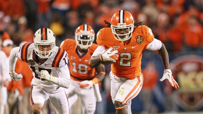 Clemson wide receiver Sammy Watkins scores on a 53-yard touchdown play in the third quarter against Virginia Tech in the ACC Championship game at Bank of America Stadium in Charlotte, N.C. in December 2011.  Clemson won 38-10, winning their first ACC crown in 30 years.