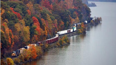 A freight train travels south seen from the Walkway Over the Hudson Wednesday, October, 21, 2009, in the Town of Lloyd.