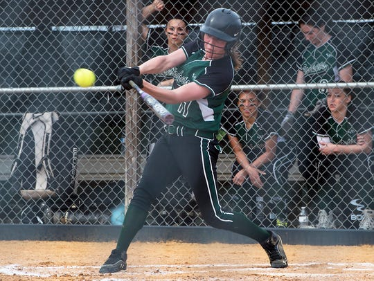 James Buchanan's Charity Miller swings the bat at the