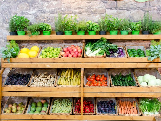 fruit vegetables shelves background