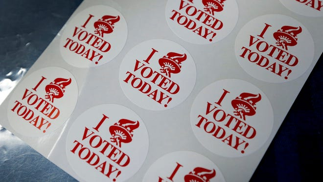 File photo: Voting stickers during New York's presidential primary in Pittsford.