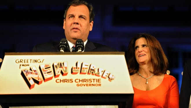 Governor Chris Christie celebrates his victory for his second-term as governor at the Asbury Park Convention Center with his family including wife, Mary Pat, Andrew, Sarah, Patrick and Bridget .