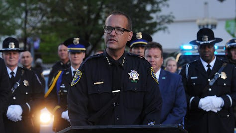 Interim Reno Police Chief Jason Soto speaks during a ceremony to honor fallen police officers under the Reno Arch on May 1, 2015.