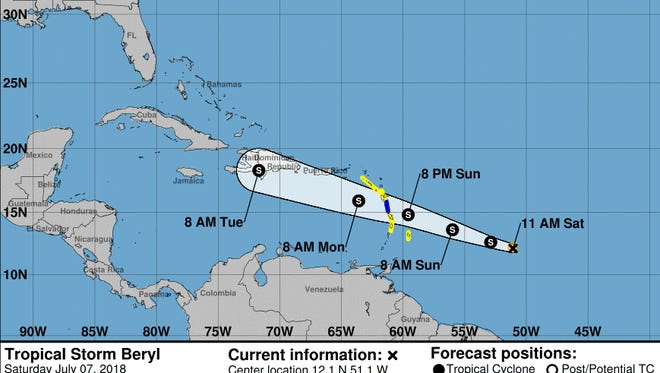 A graphic shows the expected track of Tropical Storm Beryl as of 11 a.m. Saturday, July 7.
