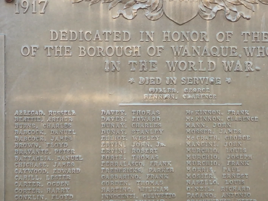 The war memorial outside of borough hall on Ringwood Avenue in Wanaque.