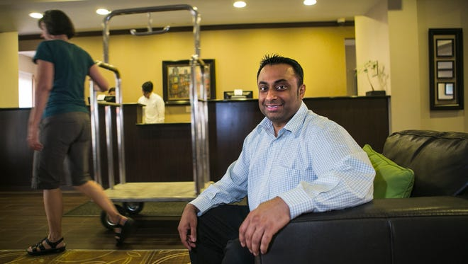 "May 16, 2017 - General manager Bhavesh ""Bob"" Patel poses for a portrait in the lobby of La Quinta Inn & Suites, located at 2839 New Brunswick Road, on Tuesday. Patel credits his customer-friendly staff and how comfortable they make the facility after the hotel was honored as the ""2016 Hotel of the Year"" within the La Quinta network. The hotel, located near Wolfchase Galleria,  was the best out of 885 La Quinta Inn & Suites around the nation."