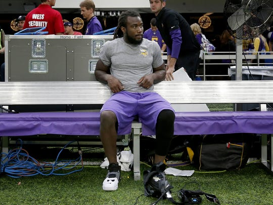 Vikings running back Dalvin Cook sits on the bench at the end of the 14-7 loss to the Lions on Oct. 1, 2017 in Minneapolis. Cook injured his knee on a run in the third quarter.