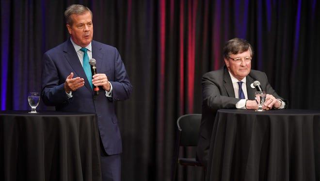 Former Nashville Mayor Karl Dean and House Minority Leader Craig Fitzhugh, D-Ripley, on stage at the Tennessee Democratic gubernatorial debate Tuesday, June 19, 2018, at Belmont University's McAfee Concert Hall in Nashville, Tenn.