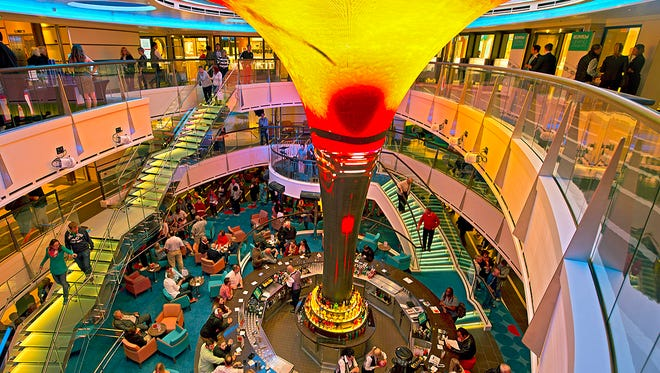A central bar is located in the atrium of Carnival Cruise Line's new Carnival Vista