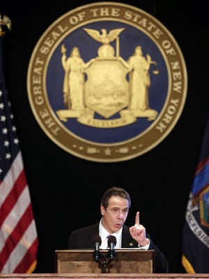 New York Gov. Andrew Cuomo delivers his State of the State address and executive budget proposal at the Empire State Plaza Convention Center on  Jan. 13, 2016  in Albany.