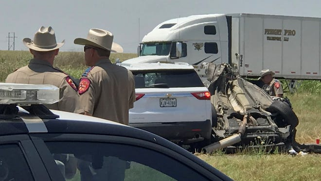 In file photo, Texas Department of Public Safety troopers investigate the scene of a possibly fatal crash on Interstate-44 between Burkburnett and Wichita Falls.