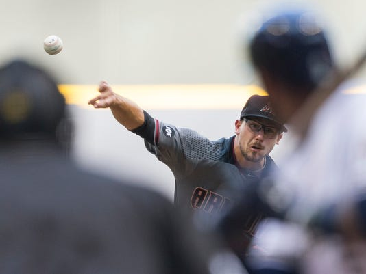 Arizona Diamondbacks' Braden Shipley pitches to an Milwaukee Brewers' batter during the first inning of a baseball game Monday, July 25, 2016, in Milwaukee. (AP Photo/Tom Lynn)