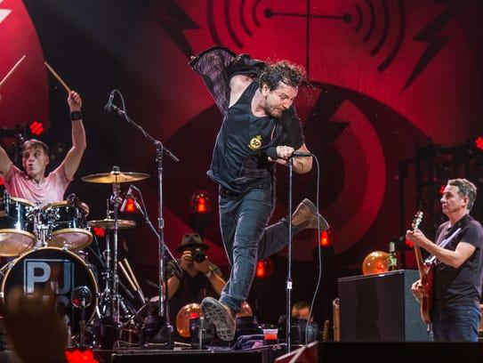 Eddie Vedder of Pearl Jam performs at Bonnaroo Music