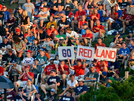 Fans of the Mid-Atlantic team from Lewisberry, known locally as Red Land, fill the stands with red during game 16 of the Little League World Series, Sunday, August 23, 2015. John A. Pavoncello - jpavoncello@yorkdispatch.com