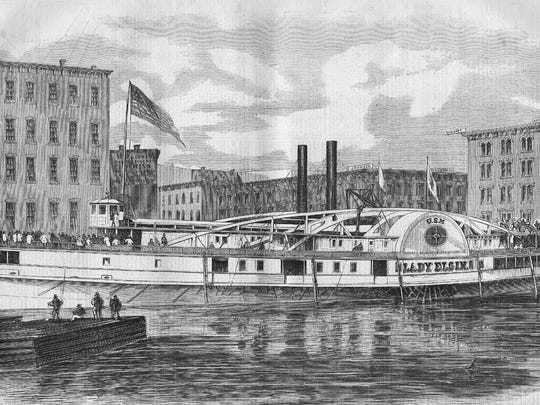 This undated drawing from a photograph provided by Maritime History of the Great Lakes, shows the luxury steamer, the Lady Elgin at her wharf in Chicago the day before she foundered and sank just north of Chicago on Sept. 8, 1860. Just over 300 men, women and children lost their lives in the tragedy.
