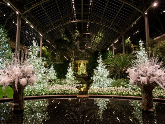 This east conservatory tableau welcomes visitors and draws the eye to the cardinal tree.
