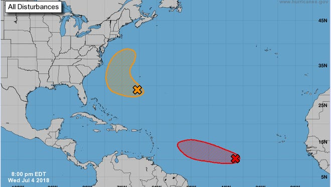 The possible paths of the two storm systems being monitored.