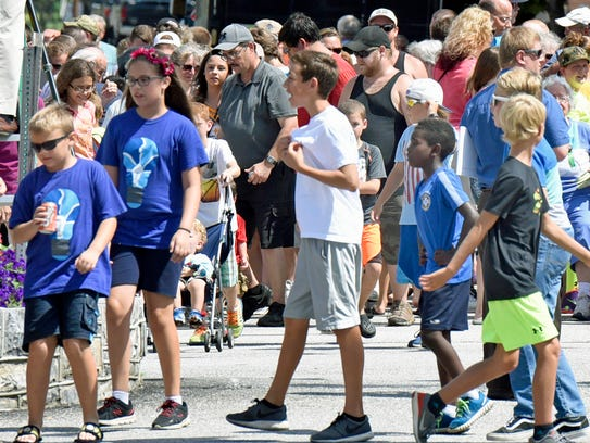 A large group gathered at Greencastle Square for the