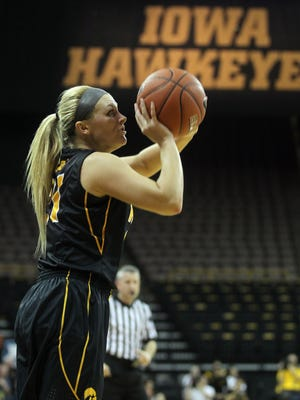 Iowa's Melissa Dixon shoots a 3-pointer during the Hawkeyes' game against Iowa State at Carver-Hawkeye Arena on Dec. 11. Dixon is 10 3-pointers away from the Hawkeyes' career record.