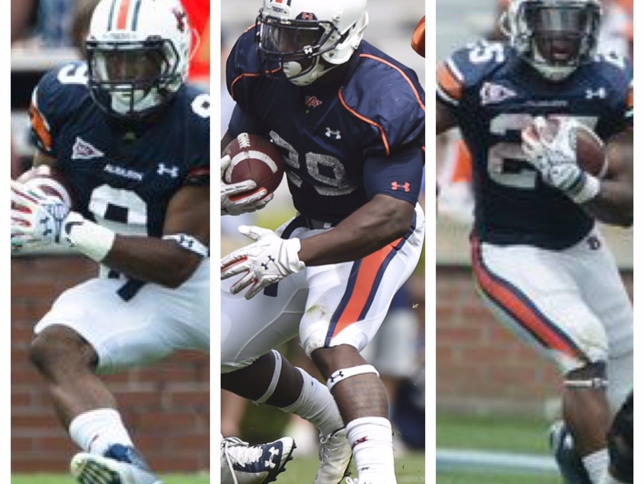 Roc Thomas, left, Jovon Robinson, middle and Peyton Barber are vying for the starting running back job.